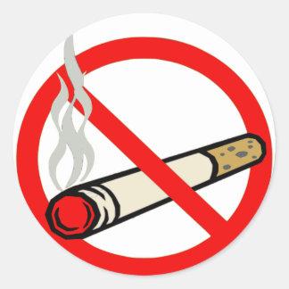 No smosking round sticker