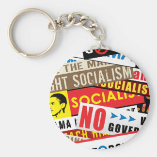 No Socialist Propaganda Basic Round Button Key Ring