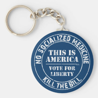 No Socialized Medicine Basic Round Button Key Ring