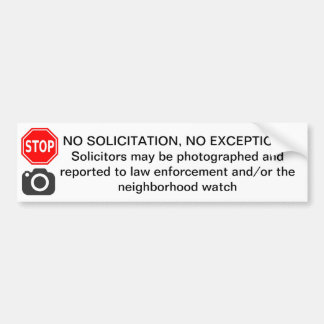 NO SOLICITATION DOOR STICKER SIGN DETER SOLICITORS BUMPER STICKER
