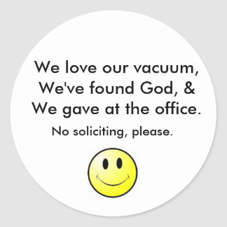 No soliciting classic round sticker