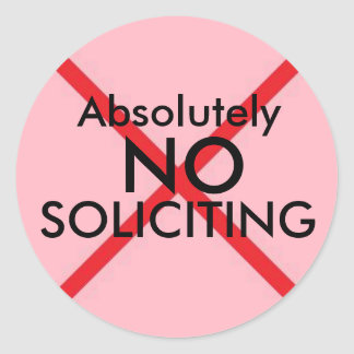 No Soliciting Door Sticker