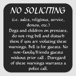 NO SOLICITING sticker (Black)