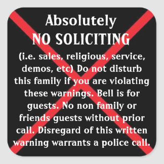NO Solicitors door stickers