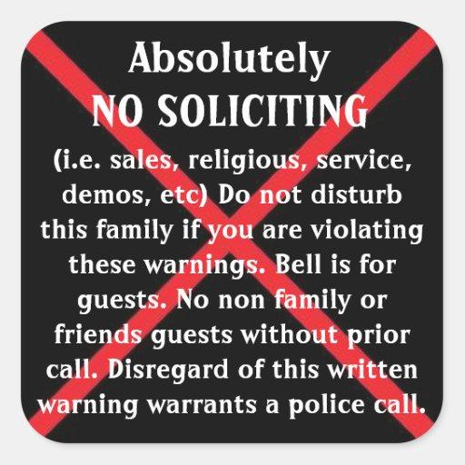 NO Solicitors door stickers