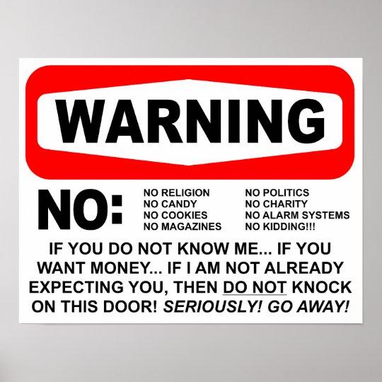 No Solicitors Warning Sign Poster