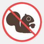 No Squirrels Round Sticker