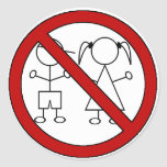 No Stick Figure Kids Round Sticker