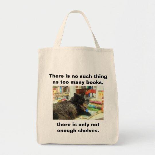"""""""No such thing as too many books"""" Cat (Light)"""