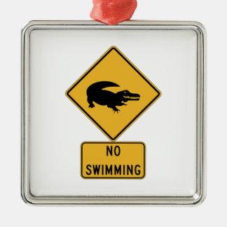 No Swimming - Alligators (2), Sign, Louisiana, US Silver-Colored Square Decoration