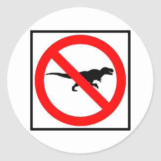 No T-Rexes Highway Sign Dinosaur Round Sticker