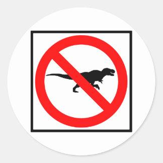 No T-Rexes Highway Sign Dinosaur Round Sticker