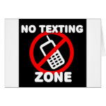 No Texting Zone Card