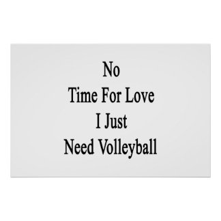 No Time For Love I Just Need Volleyball Poster