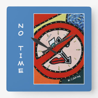 No Time On Blue Square Wall Clock