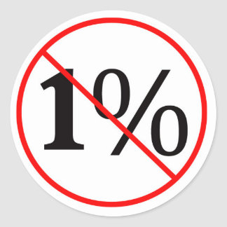 NO to the 1%. Down with the American Oligarchy Classic Round Sticker
