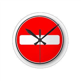 No Traffic Entry Wall Clock