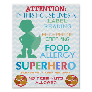 No Tree Nuts Allowed Superhero Boy Sign for Home Poster