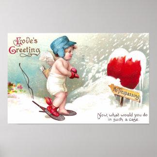 No Trespassing Heart Vintage Valentine Poster