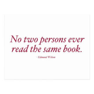 No Two Persons Ever Read The Same Book Postcard