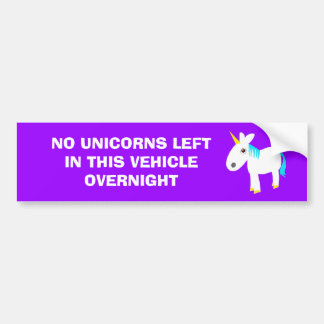 no unicorns bumper sticker