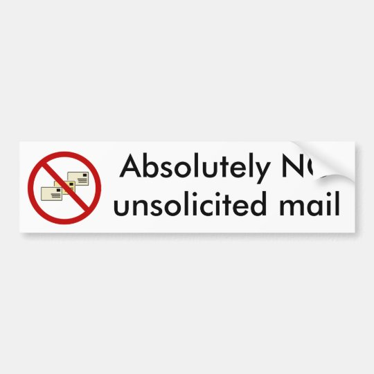 NO unsolicited mail letterbox sticker Bumper Sticker