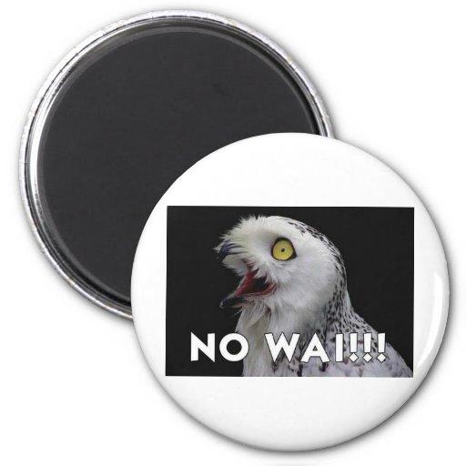 No Wai! Owl 6 Cm Round Magnet