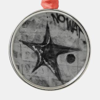 No War Graffiti Silver-Colored Round Decoration