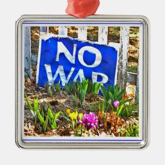 NO WAR  xmas Silver-Colored Square Decoration
