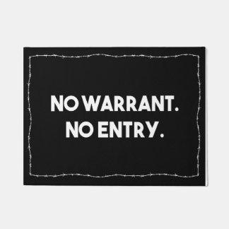 No Warrant. No Entry. Barbed Wire Police Doormat