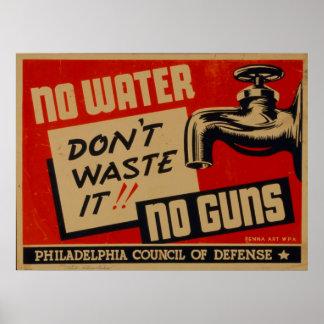 No Water No Guns Vintage WPA Poster