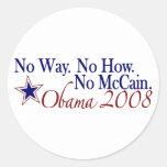 No Way No How No McCain (Obama 2008) Stickers
