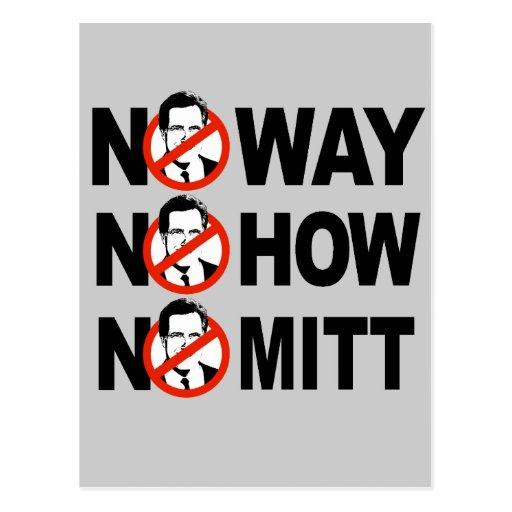 No way, No how, No Mitt Post Card