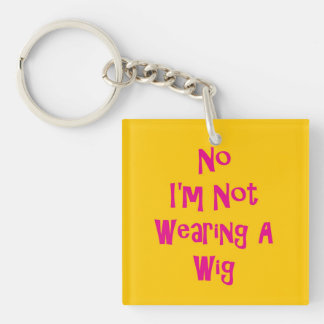 No Wig Double-Sided Square Acrylic Key Ring