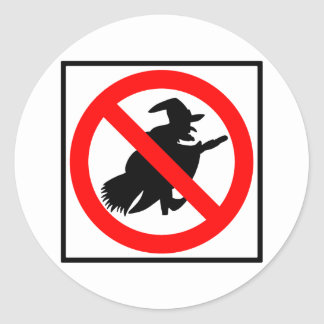 No Witches Highway Sign Round Sticker