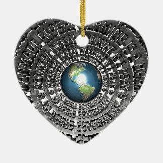 No World Government Ceramic Heart Decoration