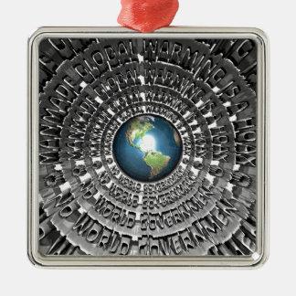 No World Government Silver-Colored Square Decoration