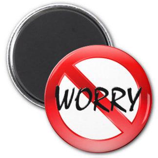 No Worry! 6 Cm Round Magnet