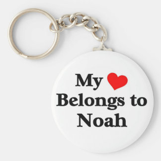 Noah has my heart basic round button key ring
