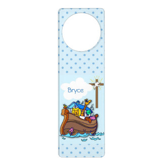 Noah's Ark Baptism, Boy Blue Door Hanger