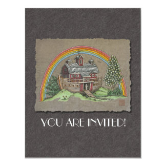 Noah's Ark Barn 11 Cm X 14 Cm Invitation Card