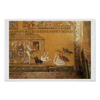 Noah taking the Animals into the Ark, mosaic in th Poster