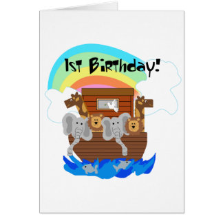 Noah's Ark 1st Birthday Tshirts and Gifts Card