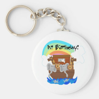 Noah's Ark 1st Birthday Tshirts and Gifts Key Ring