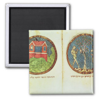 Noah's Ark and Adam and Eve Square Magnet