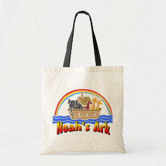 Noah's ark and rainbow tote bag