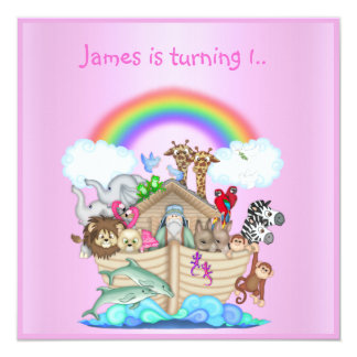 Noahs ark animal invitation PINK 2