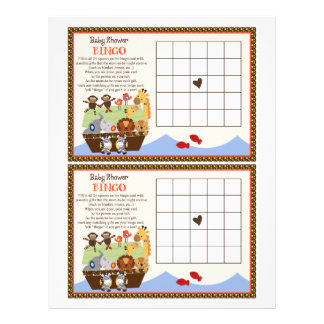 "Noah's Ark/Animal Pairs ""Baby Shower Bingo"" sheet"