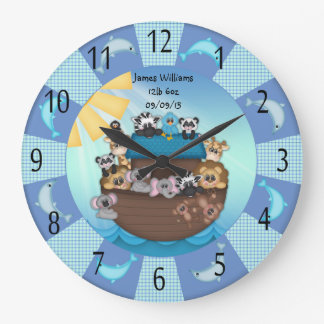 Noahs Ark Babies Round (Large) Wall Clock