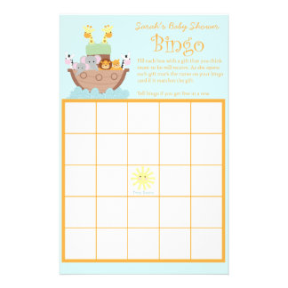 "Noah's Ark Baby Shower Bingo Cards 5.5"" x 8.5"" 14 Cm X 21.5 Cm Flyer"